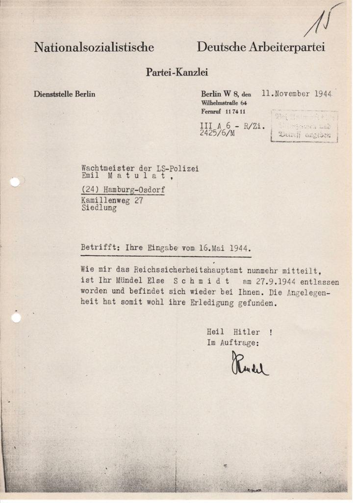 Mitteilung der Partei-Kanzlei der NSDAP vom 11. Nov. 1944 (Foto: Archiv DokuZ)