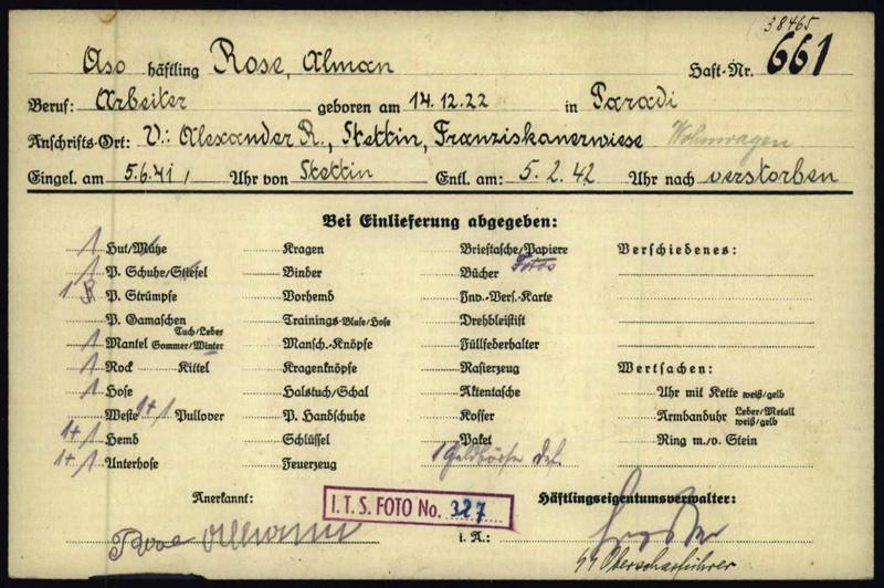 Effektenkarte von Alman Rose aus dem KZ Niederhagen (Foto: Arolsen Archives)
