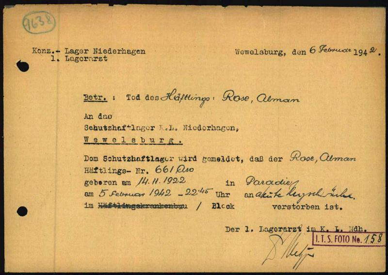 Todesbescheinigung der Lagerverwaltung von Alman Rose (Foto: Arolsen Archives)